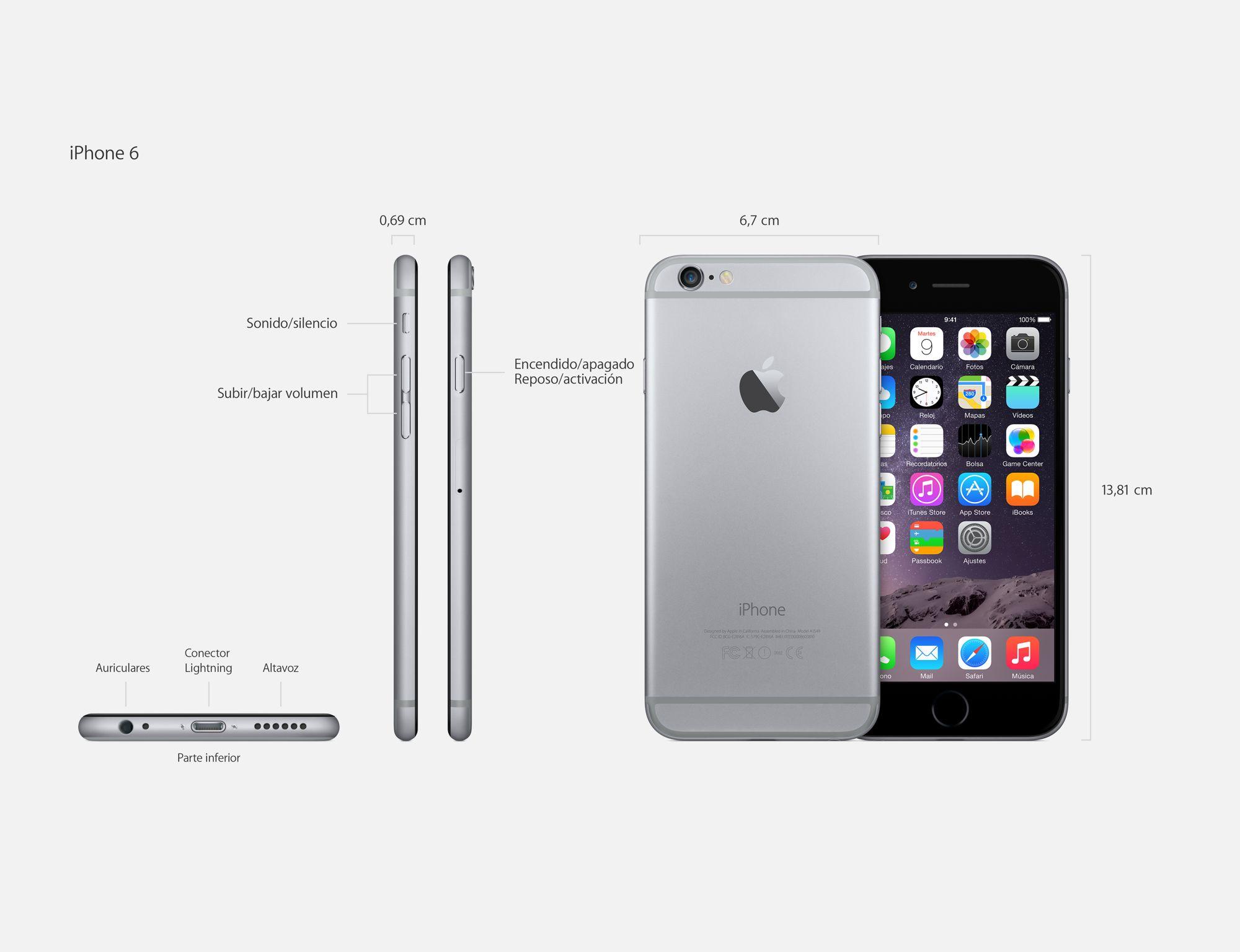 Apple iPhone 6 Plus (A1522): características ...