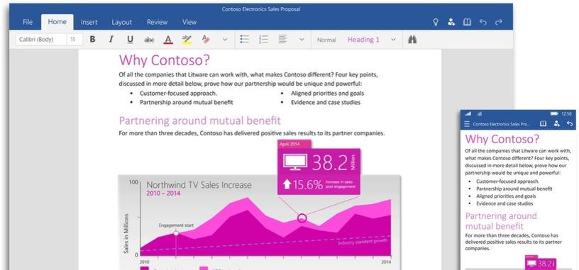 Disponibles las nuevas aplicaciones universales de Microsoft Office para Windows 10