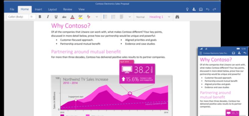 Las aplicaciones universales de Office llegarán a los teléfonos Windows 10 a final de mes