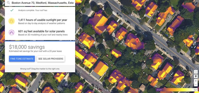 Google ayuda a calcular el potencial solar de las viviendas con Project Sunroof
