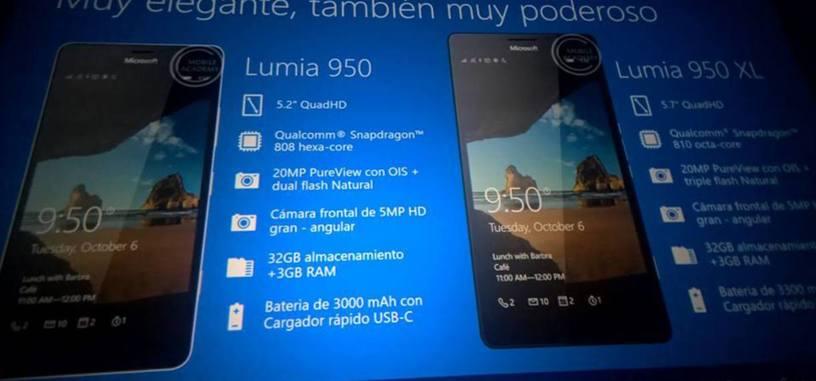 Unas transparencias de Microsoft confirman las características de los Lumia 550, 950 y 950 XL
