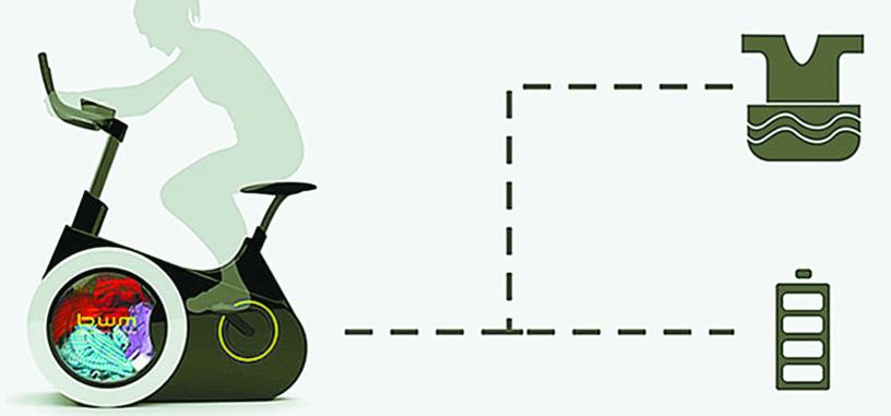 Con esta bicicleta estática lavarás tu ropa mientras pedaleas