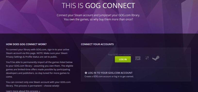 GOG Connect añade sin coste los juegos sin DRM de tu biblioteca de Steam a la de GOG