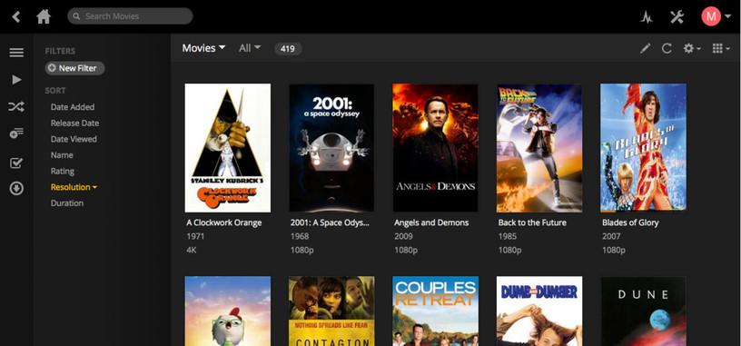 La última versión de Plex permite reproducir contenidos desde servicios en nube