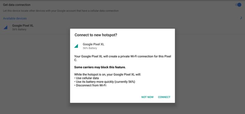 La característica 'Instant Tethering' comienza a llegar solo para los Pixel y Nexus