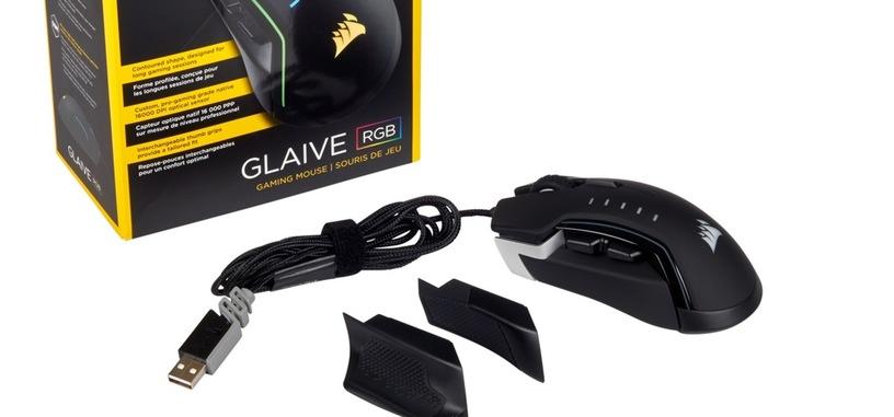 Corsair presenta Glaive RGB, ratón con sensor de 16000 PPP y agarres intercambiables