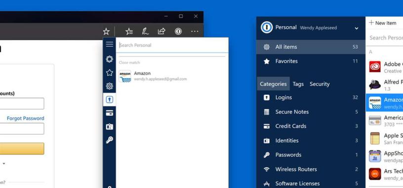 '1Password' ya tiene extensión para el navegador Edge