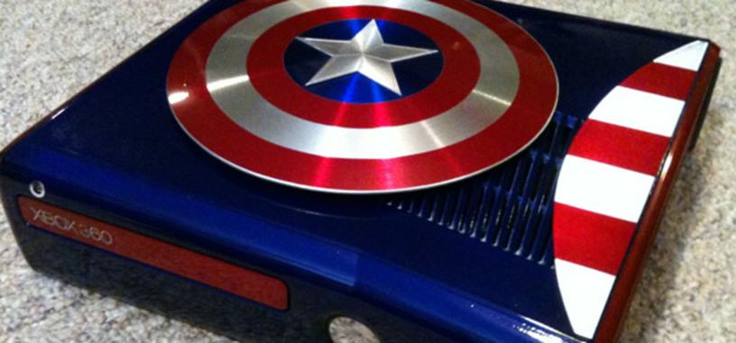 Xbox 360 modificada con temática del Capitán América