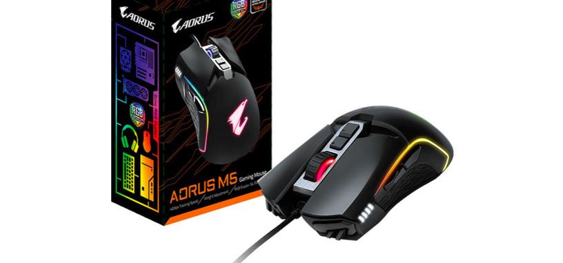 Gigabyte presenta el ratón Aorus M5, sensor de 16 000 PPP, RGB y cinco pesos adicionales