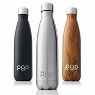 POP Design Botella de Agua, Mantiene Bebidas frías por 24h y Calientes por 12h, Acero Inoxidable con Aislamiento en vacío, Tapón Anti Goteo y Anti Sudor, Libre de BPA, 500 ML, Titanio