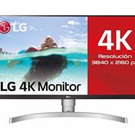 LG 27UL650-W - Monitor 4K UHD de 68,6 cm (27'') con Panel IPS (3840 x 2160 píxeles, 16:9, 350 cd/m², sRGB >99%, 1000:1, 5 ms, 60 Hz) Color Plata y Blanco
