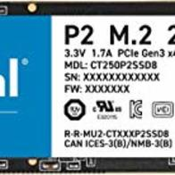 Crucial P2 CT250P2SSD8 Disco Duro sólido Interno SSD de 250GB, de hasta 2400 MB/s (3D NAND, NVMe, PCIe, M.2)