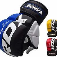 RDX Guantes MMA para Artes Marciales Entrenamiento, Cuero Grappling Guantillas, Bueno para Sparring, Muay Thai, Kickboxing, Saco de Boxeo, Combate Training y Lucha Libre