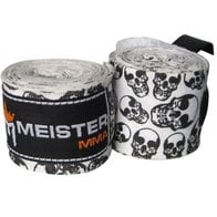 Meister Adult 180'' Semi-Elastic Hand Wraps for MMA & Boxing (Pair) - Death Skulls