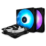 DEEP COOL RF120 Ventilador para Ordenador/Refrigerador, 3x120mm RGB PWM Ventiladores de Caja, Incluye Controlador de Cable y un Hub, RGB Sync