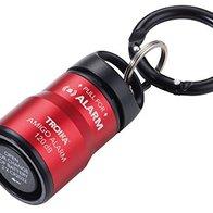 TROIKA Alarma para bolso de mano y llavero con mosquetón de 120 dB, sirena para asustar y emergencias, aluminio anodizado mate, rojo/negro