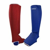 Fuji Mae - Protector para Tibia + pie Reversible, Color Rojo y Azul, tamaño Small