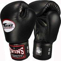 Twins Guantes de boxeo de piel, color negro, para Muay Thai, guantes de boxeo, artes marciales mixtas, talla 30 ml
