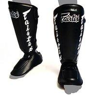 Fairtex SP7 Twister - Espinilleras desmontables para boxeo tailandés, para Muay Thai, artes marciales mixtas (negro, extragrande)