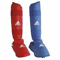 adidas Shin and Removable Instep Pads WKF Karate-Espinilleras y Almohadillas extraíbles, Unisex Adulto, Azul, S
