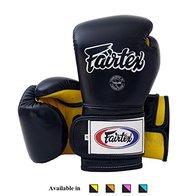 Fairtex Muay Thai - Guantes de boxeo BGL7 con cordones y correas de vectro BGV9, estilo mexicano, Hombre, color BGV9 - Negro/Amarillo, tamaño 454 g