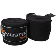 Meister Adult 180'' Semi-Elastic Hand Wraps for MMA & Boxing (Pair) - Black