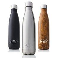 POP Design Botella de Agua, Mantiene Bebidas frías por 24h y Calientes por 12h, Acero Inoxidable con Aislamiento en vacío, Tapón Anti Goteo y Anti Sudor, 500 ML, Titanio